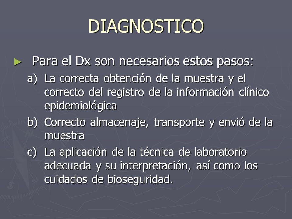 DIAGNOSTICO Para el Dx son necesarios estos pasos: Para el Dx son necesarios estos pasos: a)La correcta obtención de la muestra y el correcto del regi