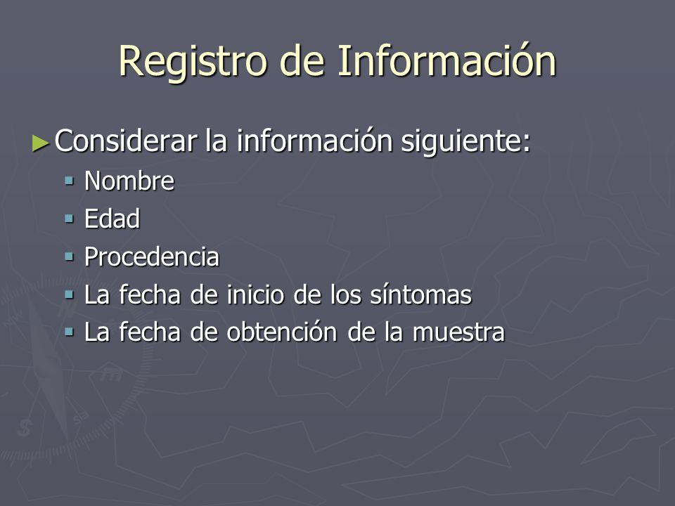 Registro de Información Considerar la información siguiente: Considerar la información siguiente: Nombre Nombre Edad Edad Procedencia Procedencia La f