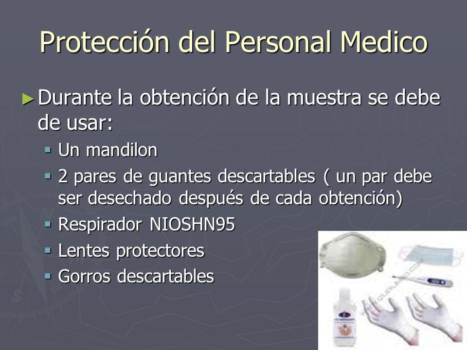 Protección del Personal Medico Durante la obtención de la muestra se debe de usar: Durante la obtención de la muestra se debe de usar: Un mandilon Un
