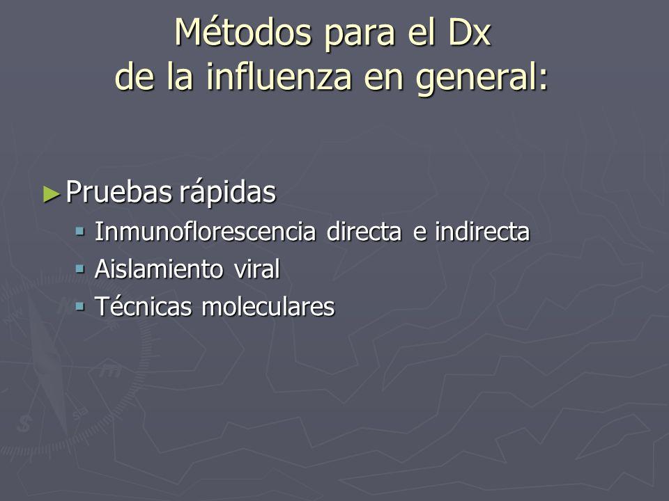 Métodos para el Dx de la influenza en general: Pruebas rápidas Pruebas rápidas Inmunoflorescencia directa e indirecta Inmunoflorescencia directa e ind
