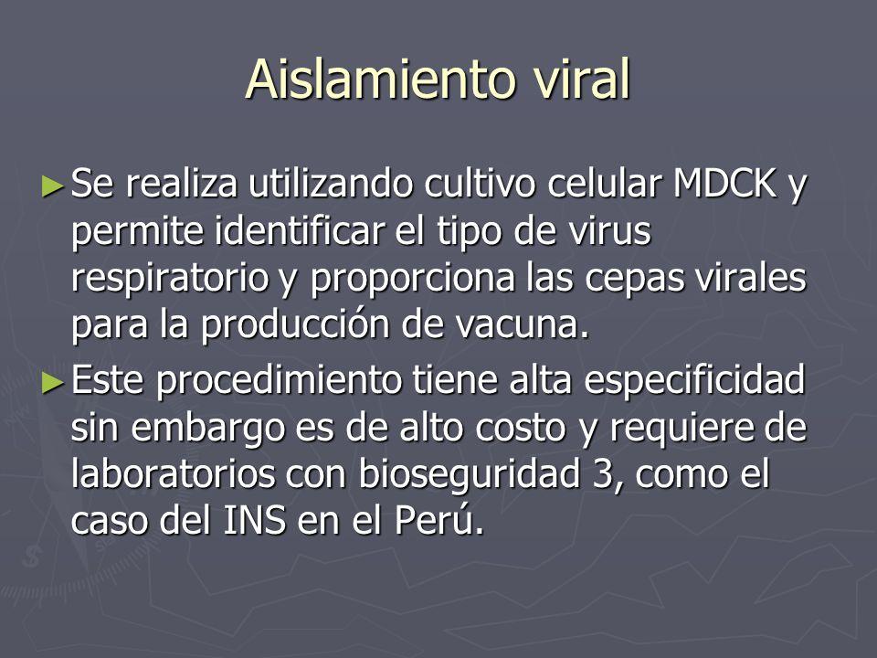 Aislamiento viral Se realiza utilizando cultivo celular MDCK y permite identificar el tipo de virus respiratorio y proporciona las cepas virales para