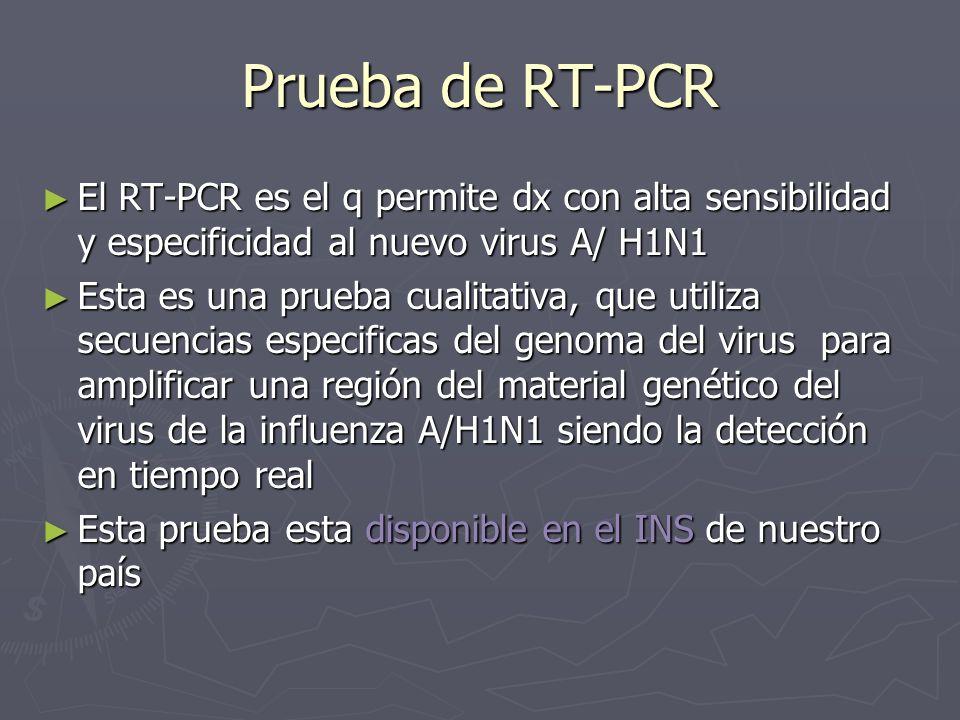 Prueba de RT-PCR El RT-PCR es el q permite dx con alta sensibilidad y especificidad al nuevo virus A/ H1N1 El RT-PCR es el q permite dx con alta sensi