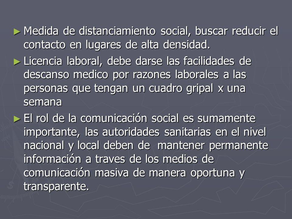 Medida de distanciamiento social, buscar reducir el contacto en lugares de alta densidad. Medida de distanciamiento social, buscar reducir el contacto