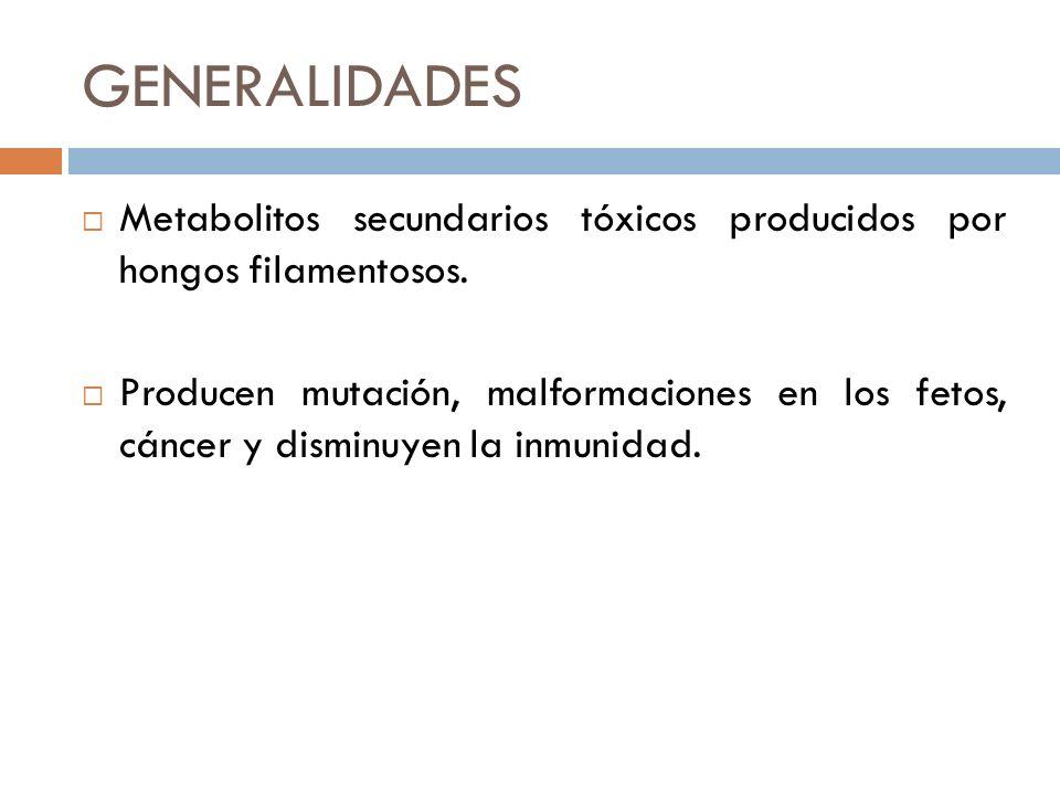 GENERALIDADES Metabolitos secundarios tóxicos producidos por hongos filamentosos. Producen mutación, malformaciones en los fetos, cáncer y disminuyen