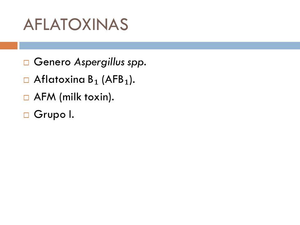 AFLATOXINAS Genero Aspergillus spp. Aflatoxina B (AFB ). AFM (milk toxin). Grupo I.