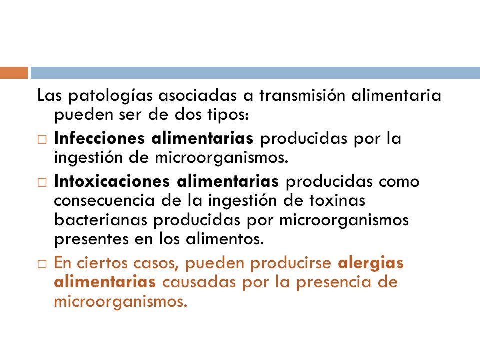 Las patologías asociadas a transmisión alimentaria pueden ser de dos tipos: Infecciones alimentarias producidas por la ingestión de microorganismos. I