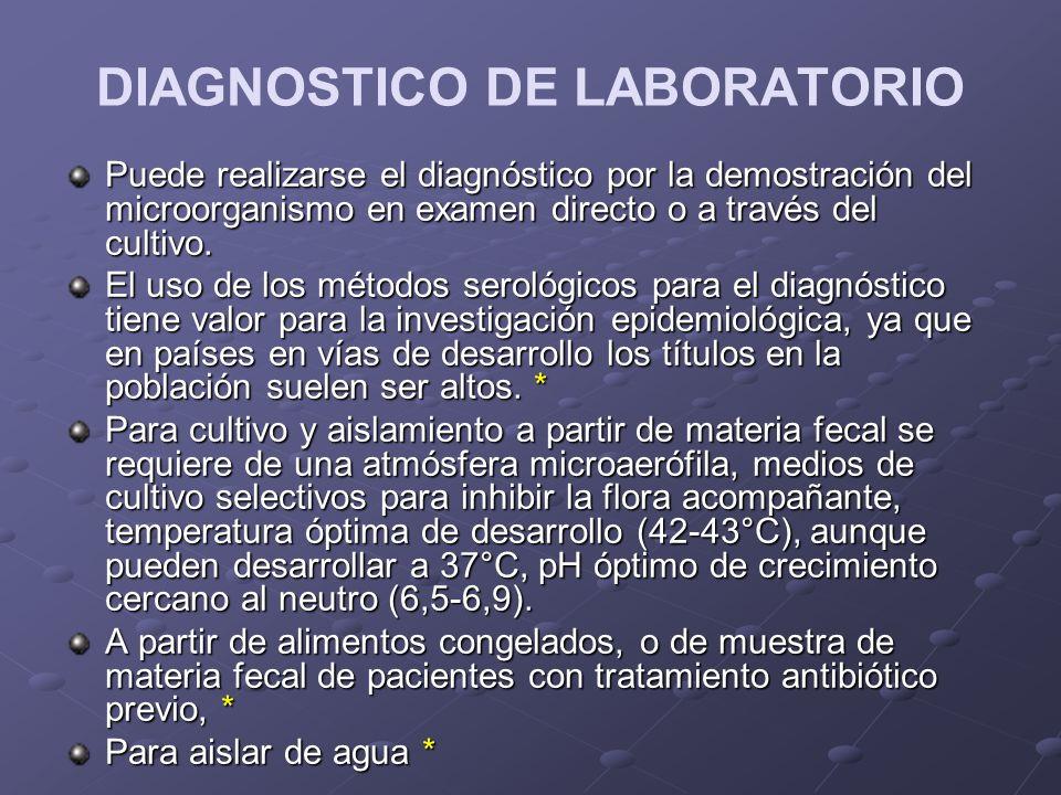 DIAGNOSTICO DE LABORATORIO Puede realizarse el diagnóstico por la demostración del microorganismo en examen directo o a través del cultivo. El uso de