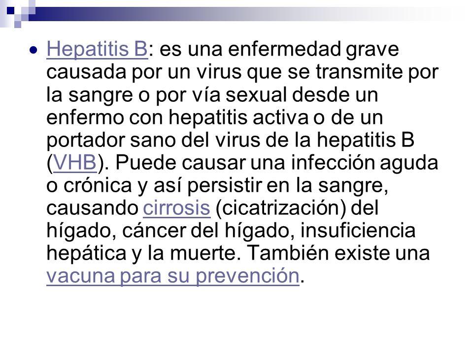 Hepatitis B: es una enfermedad grave causada por un virus que se transmite por la sangre o por vía sexual desde un enfermo con hepatitis activa o de u