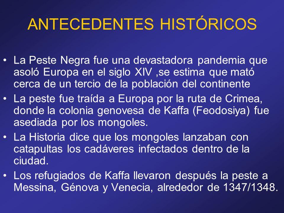ANTECEDENTES HISTÓRICOS La Peste Negra fue una devastadora pandemia que asoló Europa en el siglo XIV,se estima que mató cerca de un tercio de la pobla