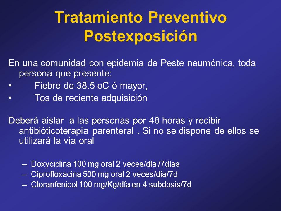 Tratamiento Preventivo Postexposición En una comunidad con epidemia de Peste neumónica, toda persona que presente: Fiebre de 38.5 oC ó mayor, Tos de r