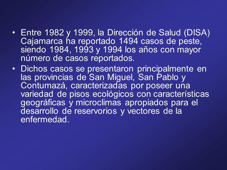 Entre 1982 y 1999, la Dirección de Salud (DISA) Cajamarca ha reportado 1494 casos de peste, siendo 1984, 1993 y 1994 los años con mayor número de caso