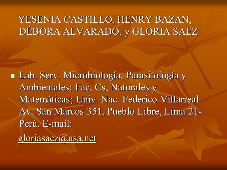 YESENIA CASTILLO, HENRY BAZAN, DÉBORA ALVARADO, y GLORIA SAEZ YESENIA CASTILLO, HENRY BAZAN, DÉBORA ALVARADO, y GLORIA SAEZ Lab.
