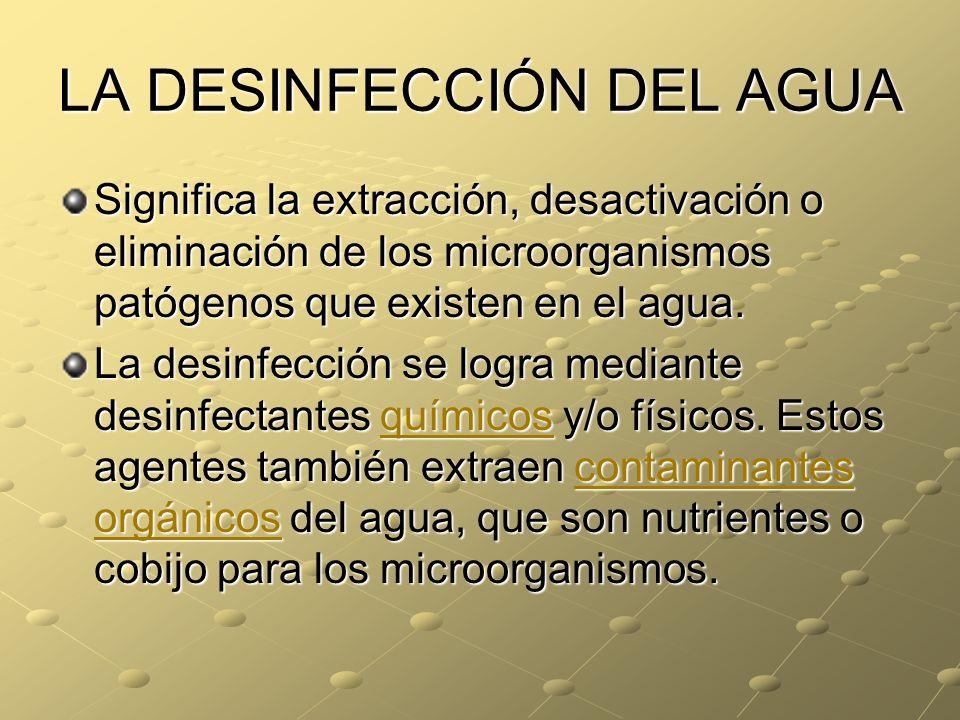 Compuestos químicos para la desinfección del agua: - Cloro (Cl2) - Dióxido de Cloro (ClO2) - Hipoclorito (OCl-) - Ozono (O3) - Halógenos: Bromo (Br2), Iodo (I) - Cloruro de Bromo (BrCl) - Metales: cobre (Cu2+), plata (Ag+) - Permanganato potasico (KMnO4) - Fenoles - Alcoholes - Jabones y detergentes - Sales de amonio - Peroxido de Hidrogeno - Distintas ácidos y bases Compuestos físicos para la desinfección del agua: Cloro Dióxido de Cloro HipocloritoOzonoBromoIodocobreplataCloro Dióxido de Cloro HipocloritoOzonoBromoIodocobreplata - Luz Ultravioleta (UV) - Radiación electrónica - Rayos Gamma - Sonido - Calor Luz UltravioletaLuz Ultravioleta