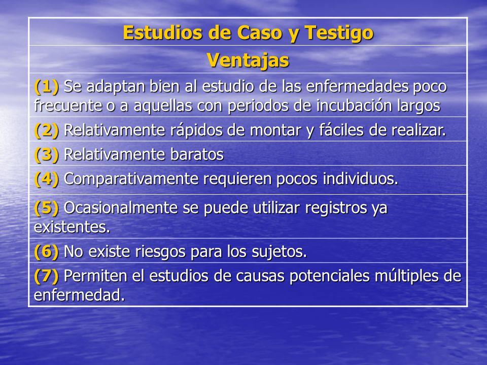 Estudios de Caso y Testigo Ventajas (1) Se adaptan bien al estudio de las enfermedades poco frecuente o a aquellas con periodos de incubación largos (