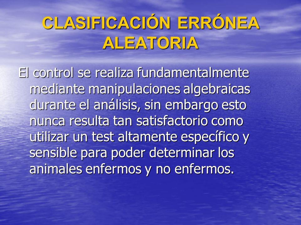 CLASIFICACIÓN ERRÓNEA ALEATORIA El control se realiza fundamentalmente mediante manipulaciones algebraicas durante el análisis, sin embargo esto nunca