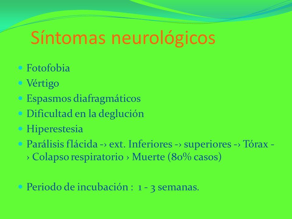 Síntomas neurológicos Fotofobia Vértigo Espasmos diafragmáticos Dificultad en la deglución Hiperestesia Parálisis flácida - ext. Inferiores - superior