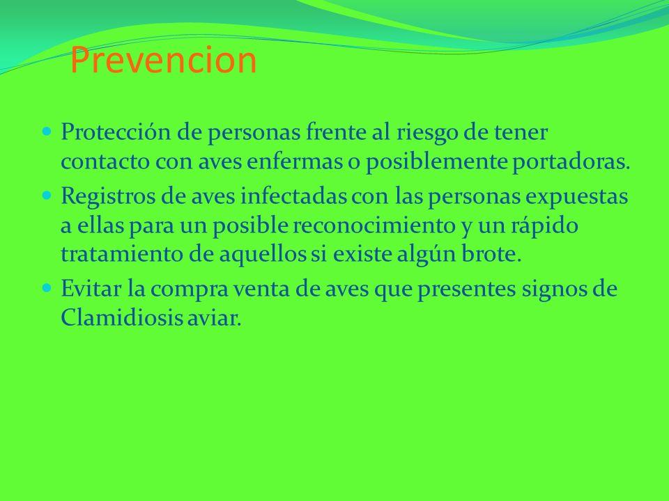Prevencion Protección de personas frente al riesgo de tener contacto con aves enfermas o posiblemente portadoras. Registros de aves infectadas con las