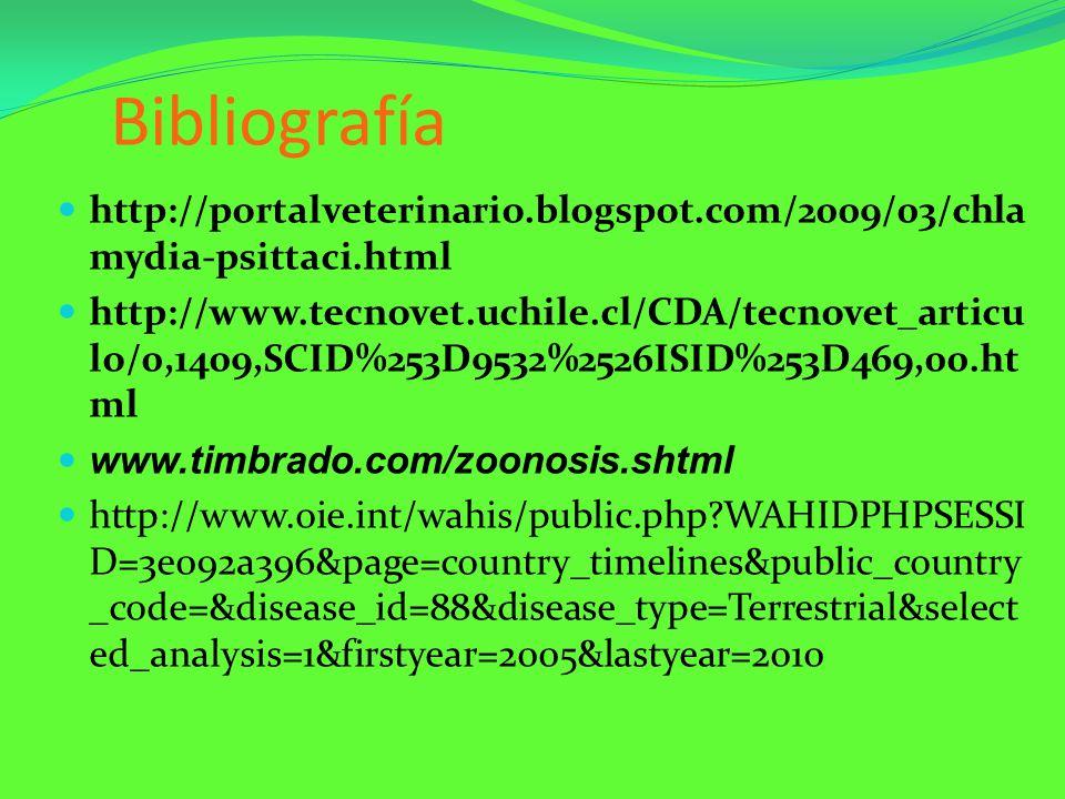 Bibliografía http://portalveterinario.blogspot.com/2009/03/chla mydia-psittaci.html http://www.tecnovet.uchile.cl/CDA/tecnovet_articu lo/0,1409,SCID%2