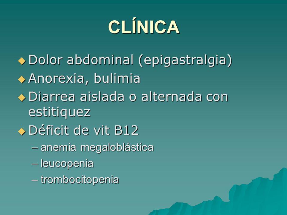 CLÍNICA Dolor abdominal (epigastralgia) Dolor abdominal (epigastralgia) Anorexia, bulimia Anorexia, bulimia Diarrea aislada o alternada con estitiquez