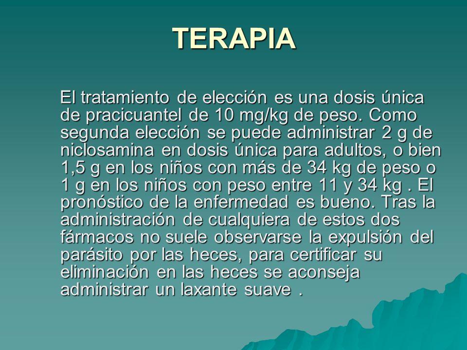 TERAPIA El tratamiento de elección es una dosis única de pracicuantel de 10 mg/kg de peso. Como segunda elección se puede administrar 2 g de niclosami