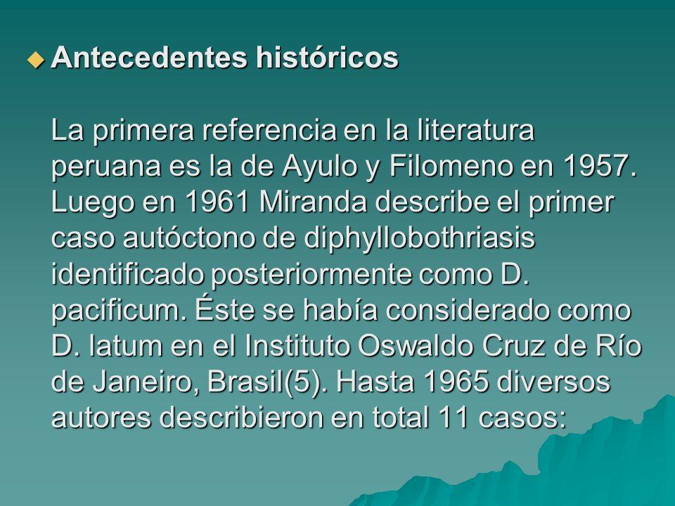 Antecedentes históricos La primera referencia en la literatura peruana es la de Ayulo y Filomeno en 1957. Luego en 1961 Miranda describe el primer cas