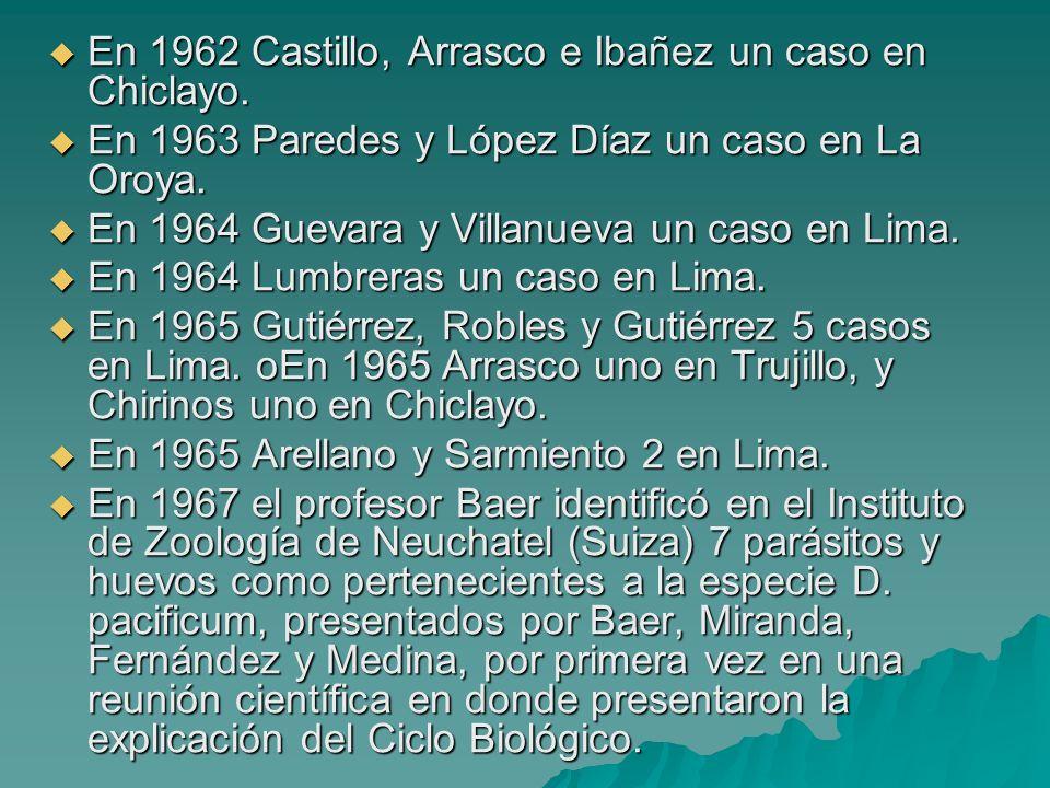 En 1962 Castillo, Arrasco e Ibañez un caso en Chiclayo. En 1962 Castillo, Arrasco e Ibañez un caso en Chiclayo. En 1963 Paredes y López Díaz un caso e