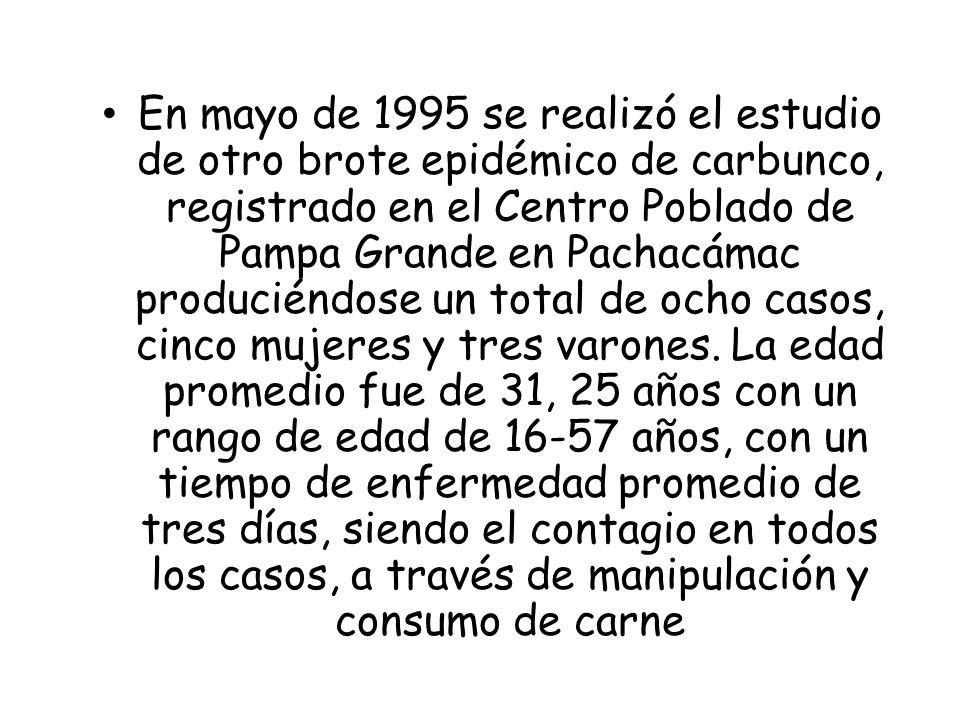 En mayo de 1995 se realizó el estudio de otro brote epidémico de carbunco, registrado en el Centro Poblado de Pampa Grande en Pachacámac produciéndose
