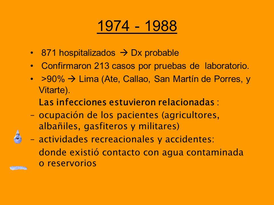 1974 - 1988 871 hospitalizados Dx probable Confirmaron 213 casos por pruebas de laboratorio. >90% Lima (Ate, Callao, San Martín de Porres, y Vitarte).