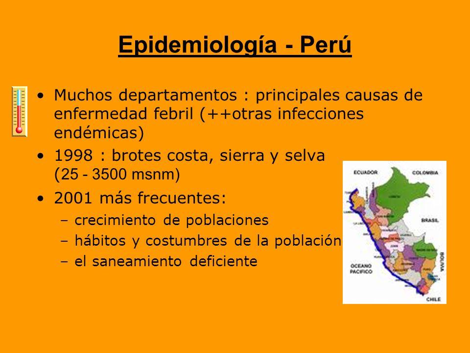 Epidemiología - Perú Muchos departamentos : principales causas de enfermedad febril (++otras infecciones endémicas) 1998 : brotes costa, sierra y selv