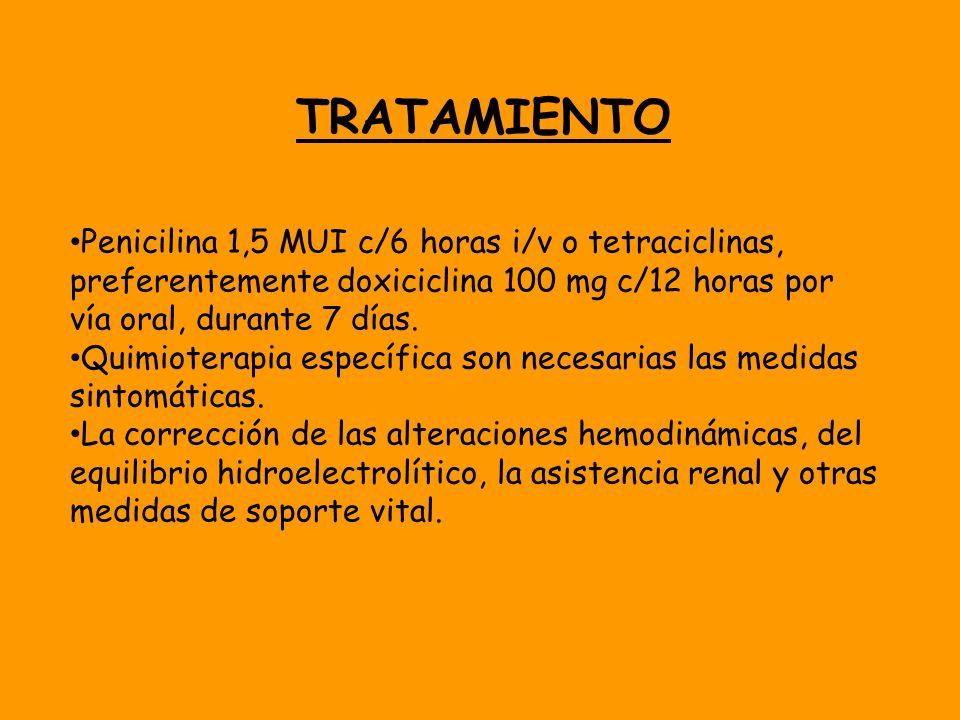 TRATAMIENTO Penicilina 1,5 MUI c/6 horas i/v o tetraciclinas, preferentemente doxiciclina 100 mg c/12 horas por vía oral, durante 7 días. Quimioterapi