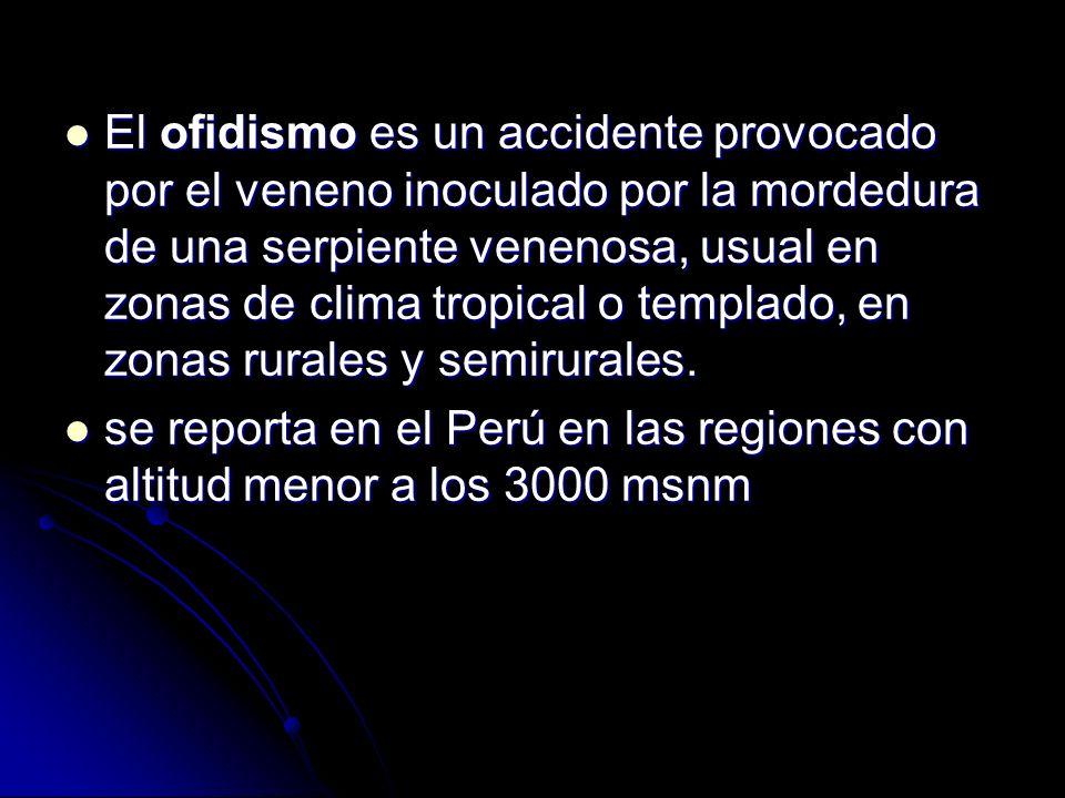 El ofidismo es un accidente provocado por el veneno inoculado por la mordedura de una serpiente venenosa, usual en zonas de clima tropical o templado,