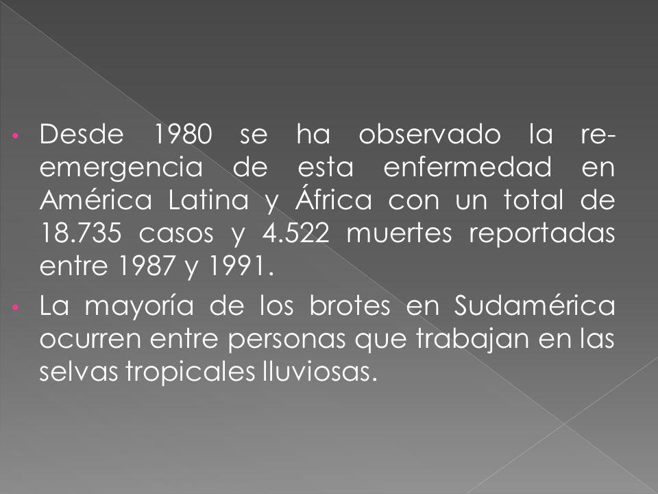 Desde 1980 se ha observado la re- emergencia de esta enfermedad en América Latina y África con un total de 18.735 casos y 4.522 muertes reportadas ent