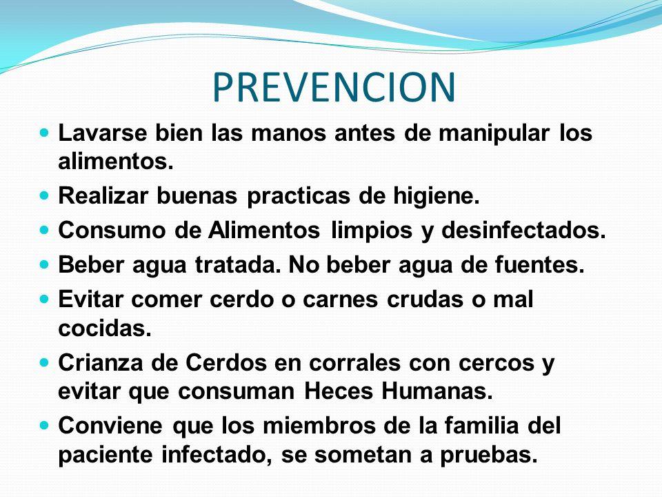PREVENCION Lavarse bien las manos antes de manipular los alimentos. Realizar buenas practicas de higiene. Consumo de Alimentos limpios y desinfectados