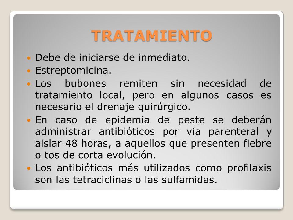 TRATAMIENTO Debe de iniciarse de inmediato. Estreptomicina. Los bubones remiten sin necesidad de tratamiento local, pero en algunos casos es necesario