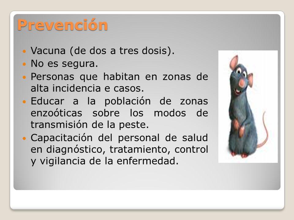 Prevención Vacuna (de dos a tres dosis). No es segura. Personas que habitan en zonas de alta incidencia e casos. Educar a la población de zonas enzoót