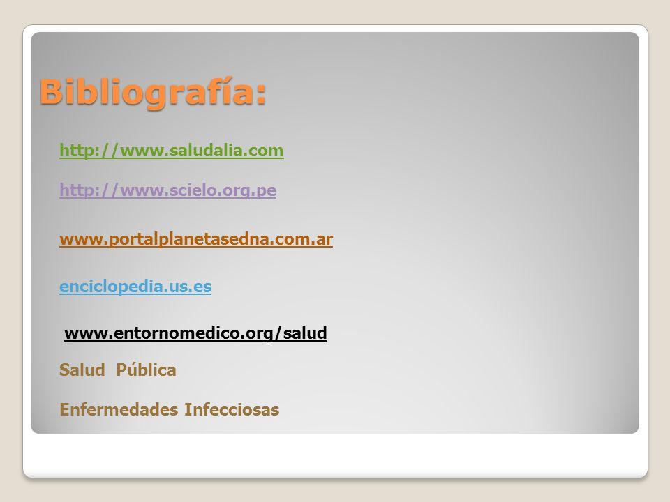 Bibliografía: http://www.saludalia.com http://www.scielo.org.pe www.portalplanetasedna.com.ar enciclopedia.us.es www.entornomedico.org/salud Salud Púb