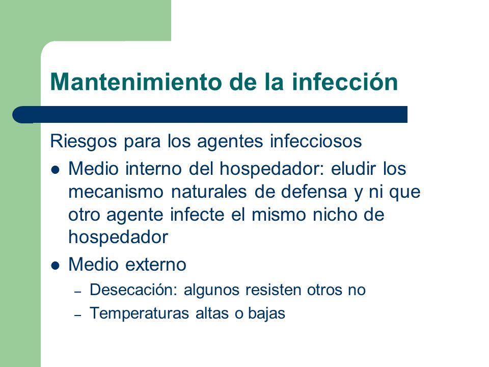 Mantenimiento de la infección Riesgos para los agentes infecciosos Medio interno del hospedador: eludir los mecanismo naturales de defensa y ni que ot