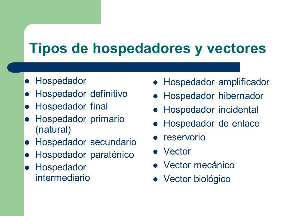 Tipos de hospedadores y vectores Hospedador Hospedador definitivo Hospedador final Hospedador primario (natural) Hospedador secundario Hospedador para