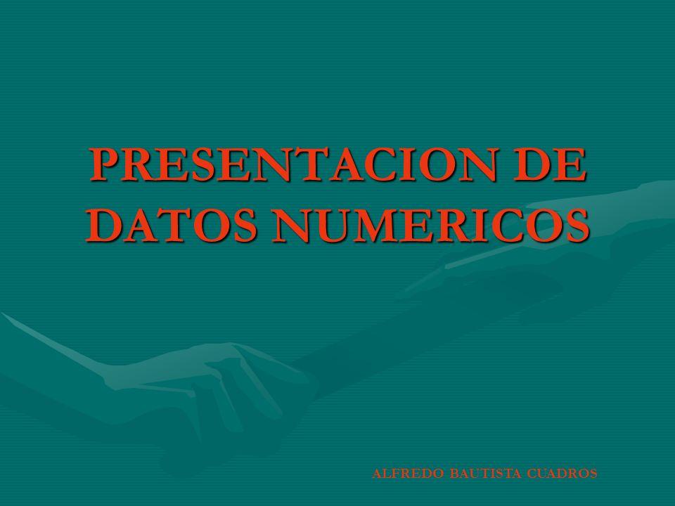 PRESENTACION DE DATOS NUMERICOS ALFREDO BAUTISTA CUADROS
