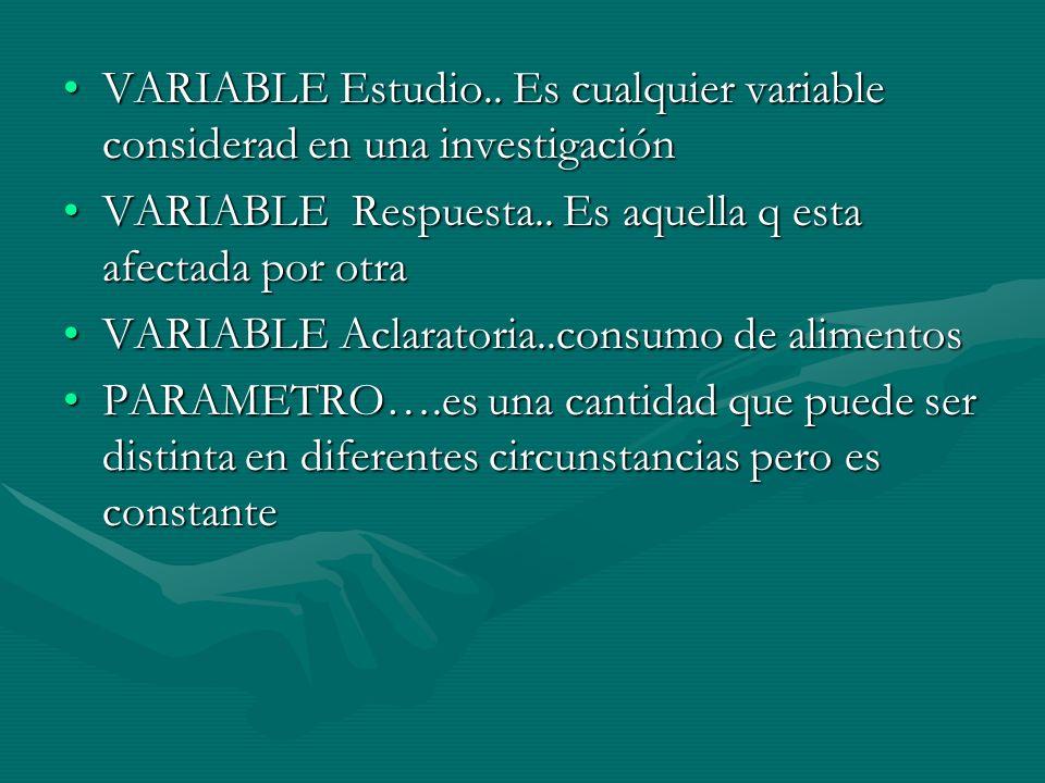 VARIABLE Estudio.. Es cualquier variable considerad en una investigaciónVARIABLE Estudio.. Es cualquier variable considerad en una investigación VARIA