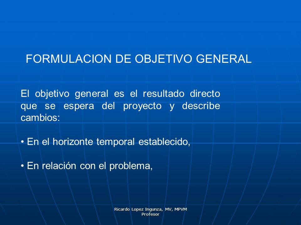 Ricardo Lopez Ingunza, MV, MPVM Profesor FORMULACION DE OBJETIVO GENERAL El objetivo general es el resultado directo que se espera del proyecto y desc