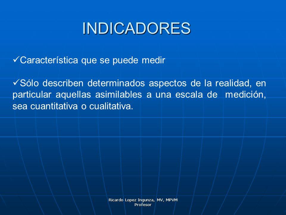 Ricardo Lopez Ingunza, MV, MPVM Profesor INDICADORES Característica que se puede medir Sólo describen determinados aspectos de la realidad, en particu