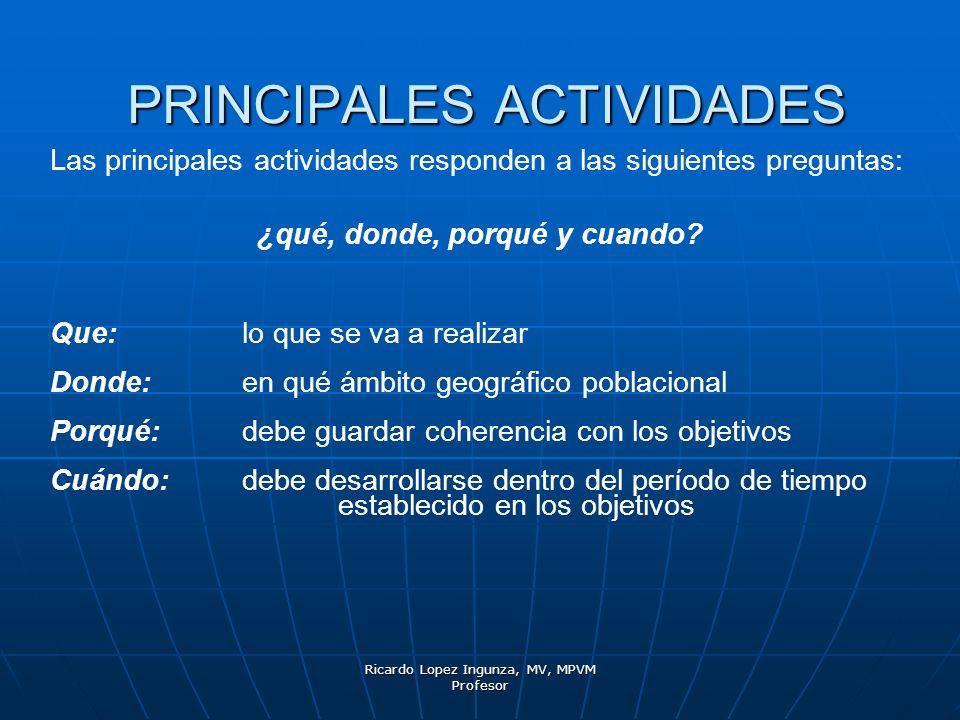 Ricardo Lopez Ingunza, MV, MPVM Profesor PRINCIPALES ACTIVIDADES Las principales actividades responden a las siguientes preguntas: ¿qué, donde, porqué