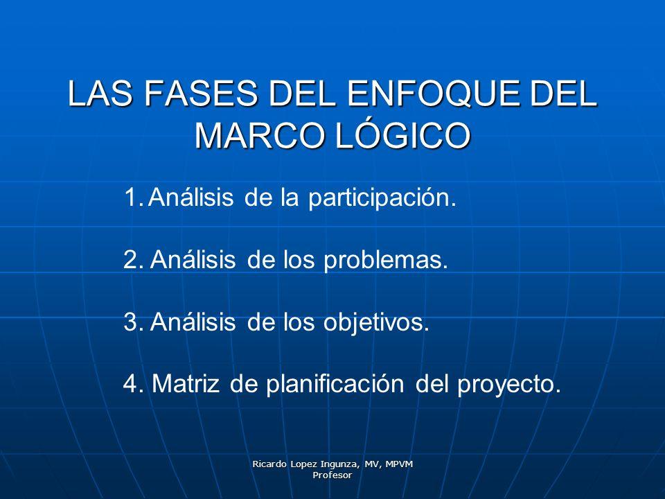 Ricardo Lopez Ingunza, MV, MPVM Profesor LAS FASES DEL ENFOQUE DEL MARCO LÓGICO 1.Análisis de la participación. 2. Análisis de los problemas. 3. Análi
