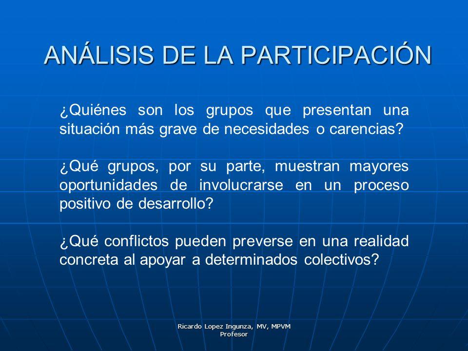 Ricardo Lopez Ingunza, MV, MPVM Profesor ANÁLISIS DE LA PARTICIPACIÓN ¿Quiénes son los grupos que presentan una situación más grave de necesidades o c
