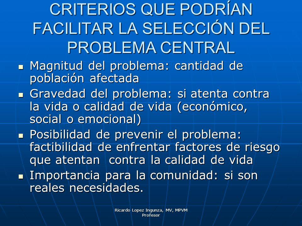 Ricardo Lopez Ingunza, MV, MPVM Profesor CRITERIOS QUE PODRÍAN FACILITAR LA SELECCIÓN DEL PROBLEMA CENTRAL Magnitud del problema: cantidad de població