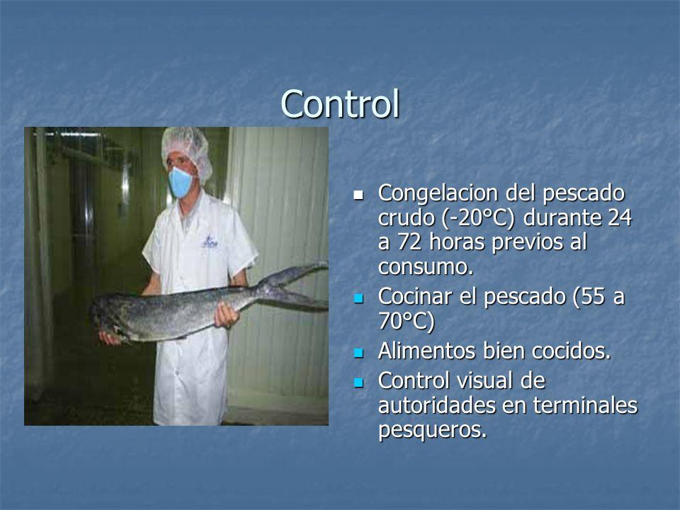 Control Congelacion del pescado crudo (-20°C) durante 24 a 72 horas previos al consumo.