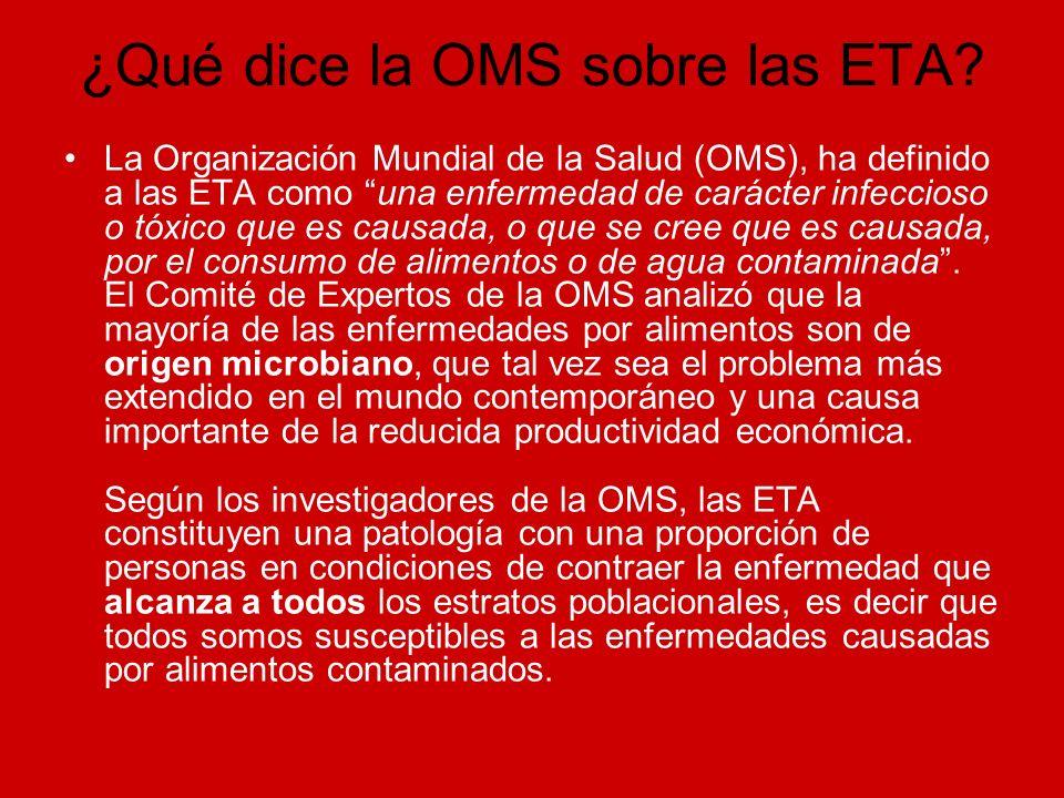 ¿Qué dice la OMS sobre las ETA? La Organización Mundial de la Salud (OMS), ha definido a las ETA como una enfermedad de carácter infeccioso o tóxico q