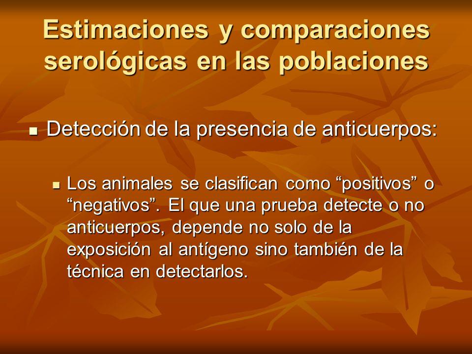 Estimaciones y comparaciones serológicas en las poblaciones Detección de la presencia de anticuerpos: Detección de la presencia de anticuerpos: Los an