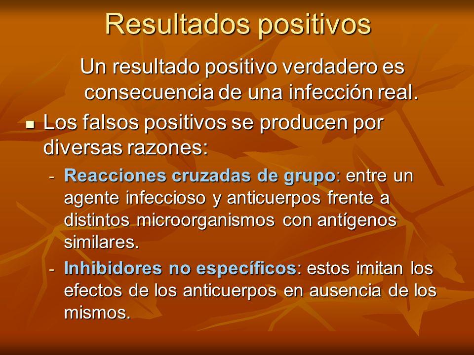 Resultados positivos Un resultado positivo verdadero es consecuencia de una infección real. Los falsos positivos se producen por diversas razones: Los